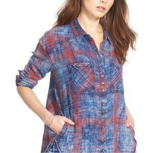 Free People Overdyed Plaid Button Front Top Sz XS